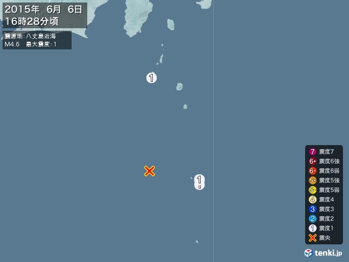 地震情報(2015年06月06日16時28分発生)