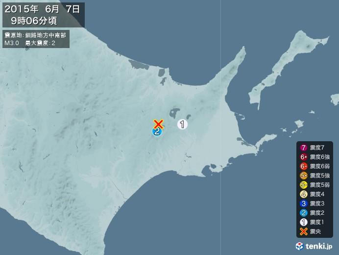 地震情報(2015年06月07日09時06分発生)