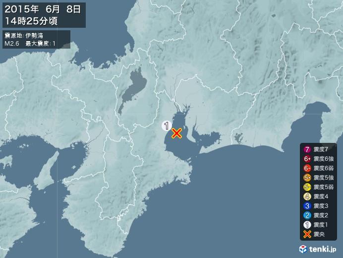 地震情報(2015年06月08日14時25分発生)