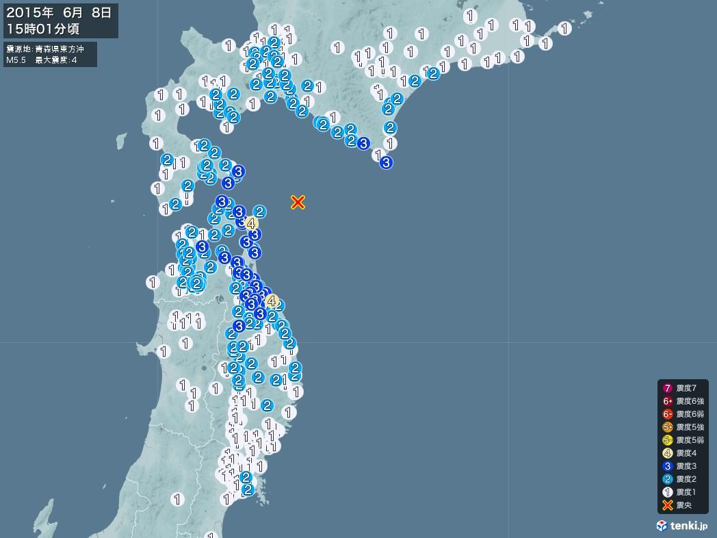 地震情報 2015年06月08日 15時01分頃発生 最大震度:4 震源地:青森県東方沖(拡大画像)