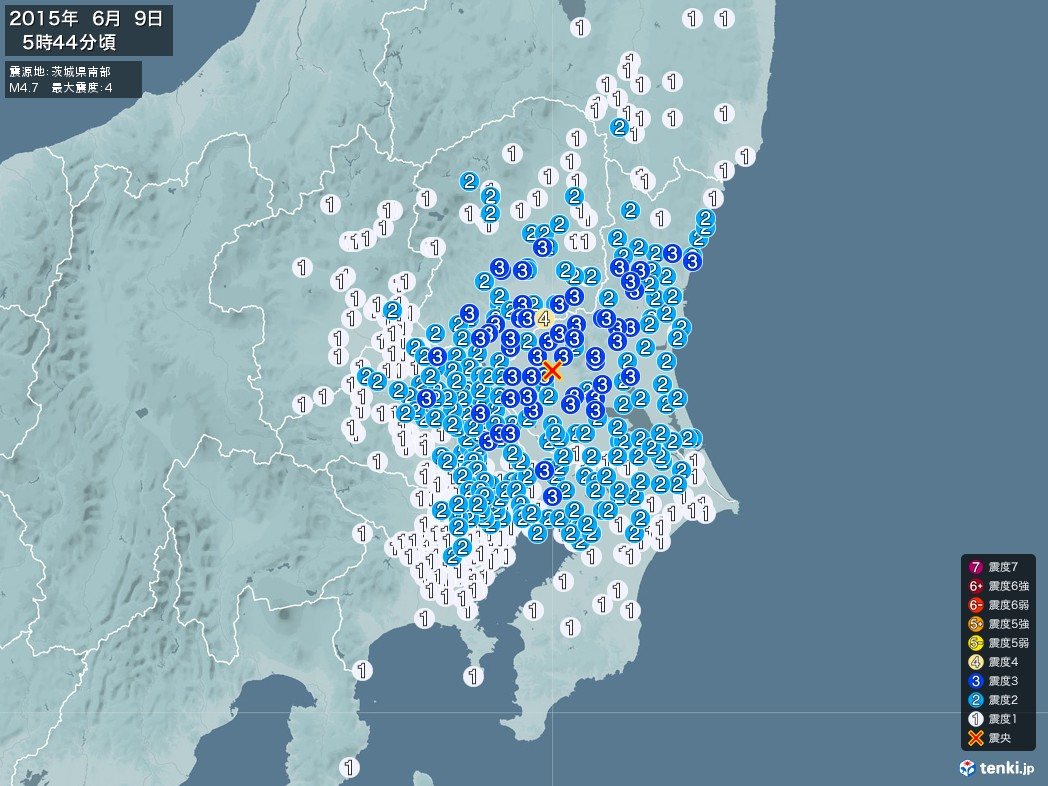 地震情報 2015年06月09日 05時44分頃発生 最大震度:4 震源地:茨城県南部(拡大画像)