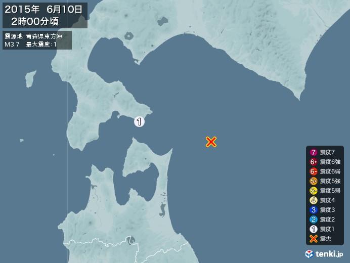 地震情報(2015年06月10日02時00分発生)
