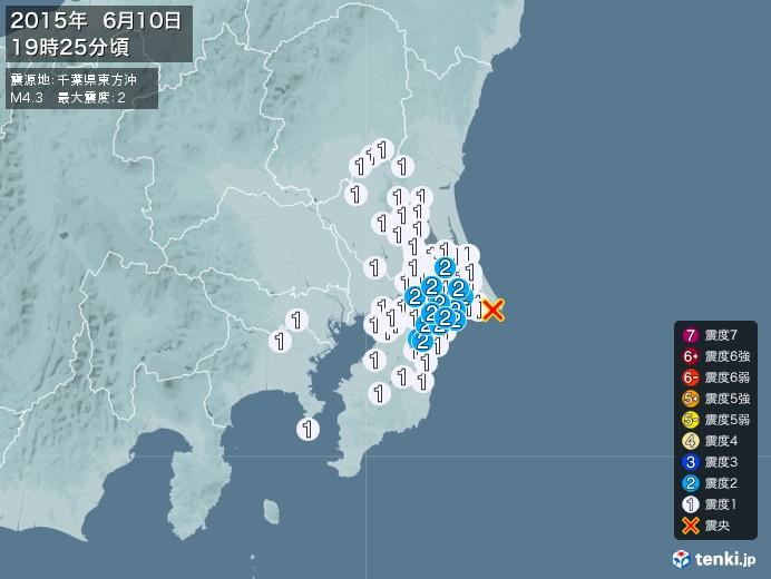 地震情報(2015年06月10日19時25分発生)