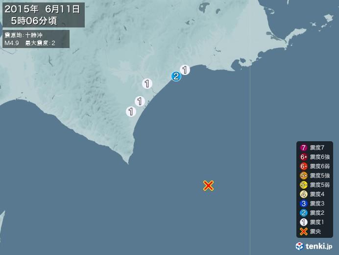 地震情報(2015年06月11日05時06分発生)