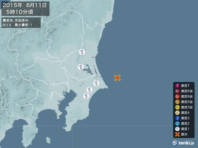 地震情報(2015年06月11日05時10分発生)