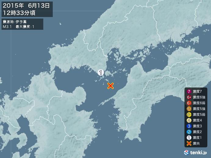 地震情報(2015年06月13日12時33分発生)