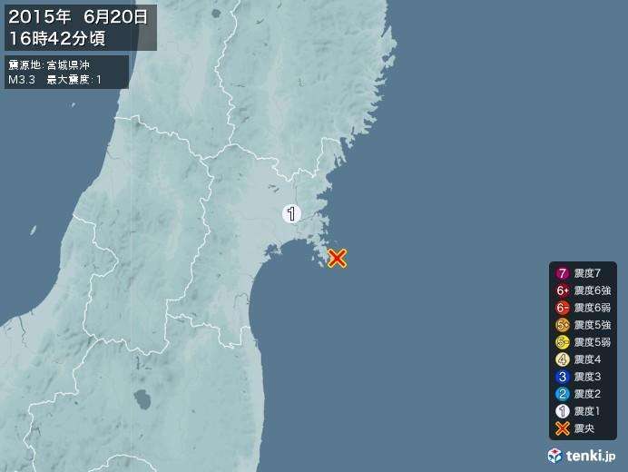 地震情報(2015年06月20日16時42分発生)