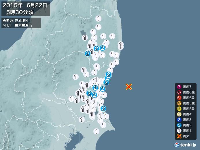 地震情報(2015年06月22日05時30分発生)