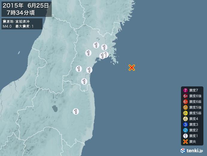 地震情報(2015年06月25日07時34分発生)