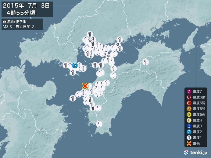 地震情報(2015年07月03日04時55分発生)