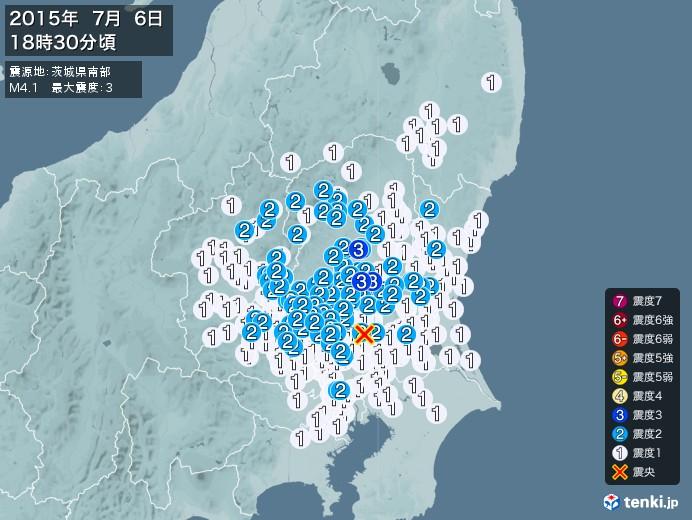 地震情報(2015年07月06日18時30分発生)