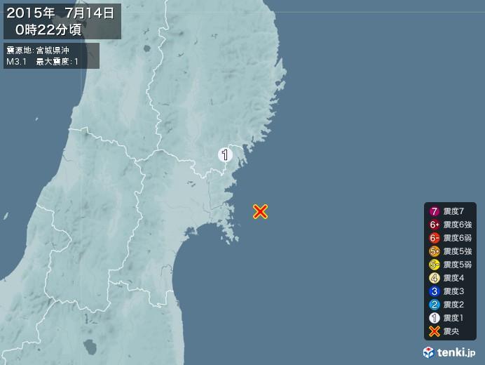 地震情報(2015年07月14日00時22分発生)