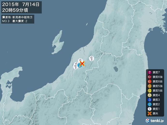 地震情報(2015年07月14日20時59分発生)