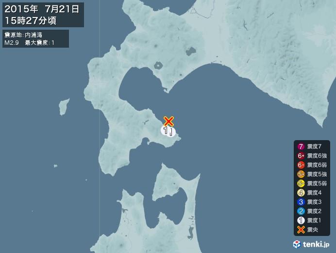 地震情報(2015年07月21日15時27分発生)