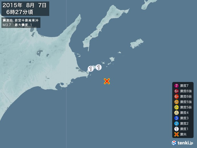 地震情報(2015年08月07日06時27分発生)