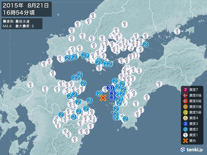 地震情報(2015年08月21日16時54分発生)