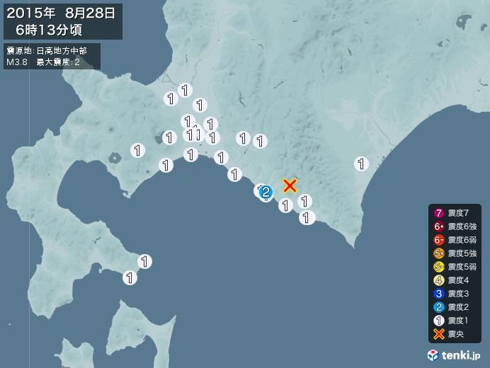 地震情報(2015年08月28日06時13分発生)