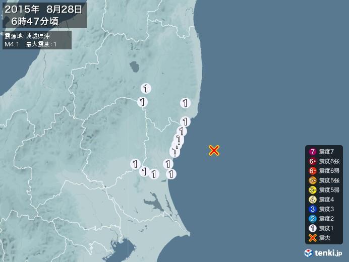 地震情報(2015年08月28日06時47分発生)