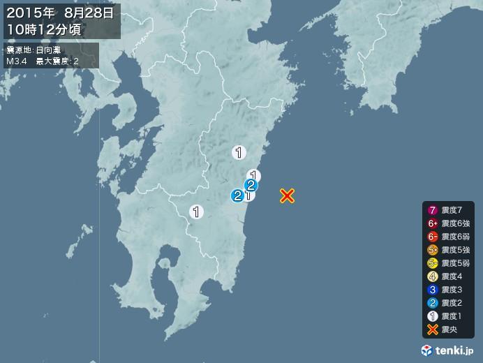 地震情報(2015年08月28日10時12分発生)
