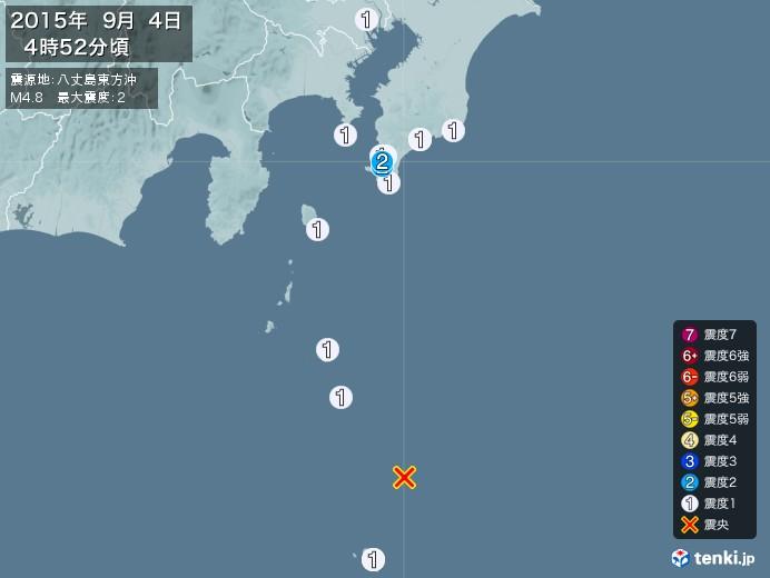 地震情報(2015年09月04日04時52分発生)
