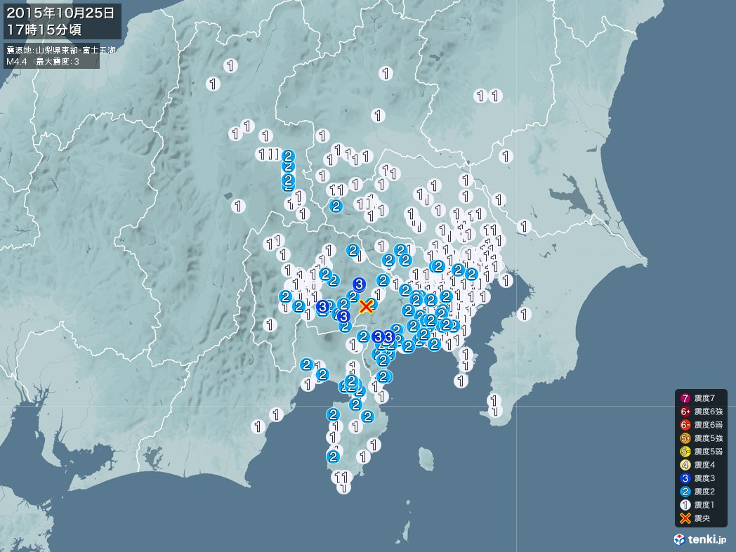 地震情報 2015年10月25日 17時15分頃発生 最大震度:3 震源地:山梨県東部・富士五湖(拡大画像)