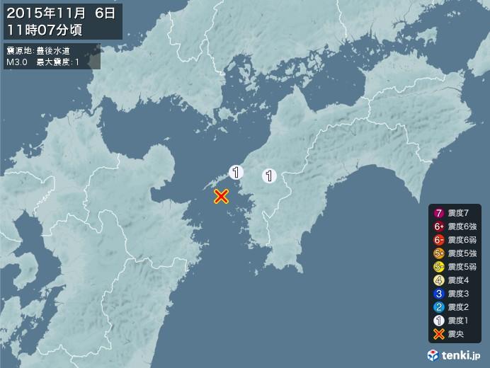 地震情報(2015年11月06日11時07分発生)