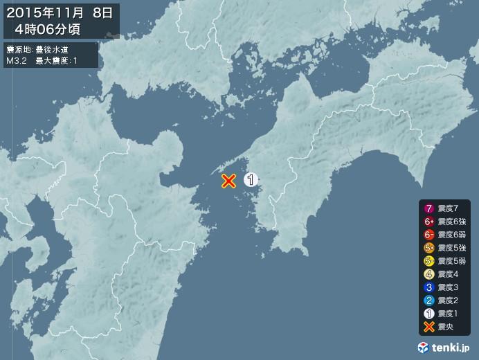 地震情報(2015年11月08日04時06分発生)