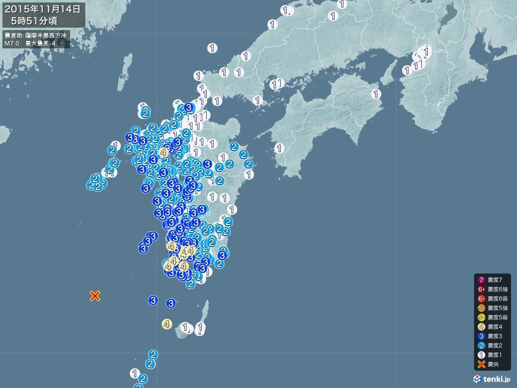 地震情報 2015年11月14日 05時51分頃発生 最大震度:4 震源地:薩摩半島西方沖(枕崎の西南西160km付近)(拡大画像)