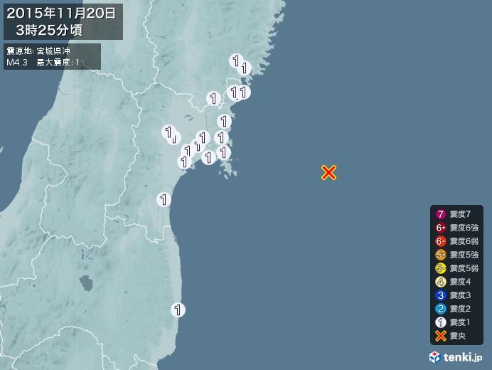 地震情報(2015年11月20日03時25分発生)