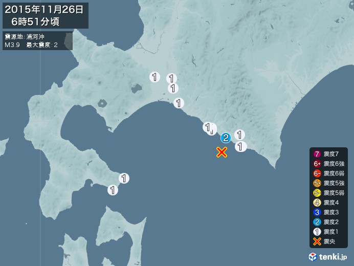 地震情報(2015年11月26日06時51分発生)