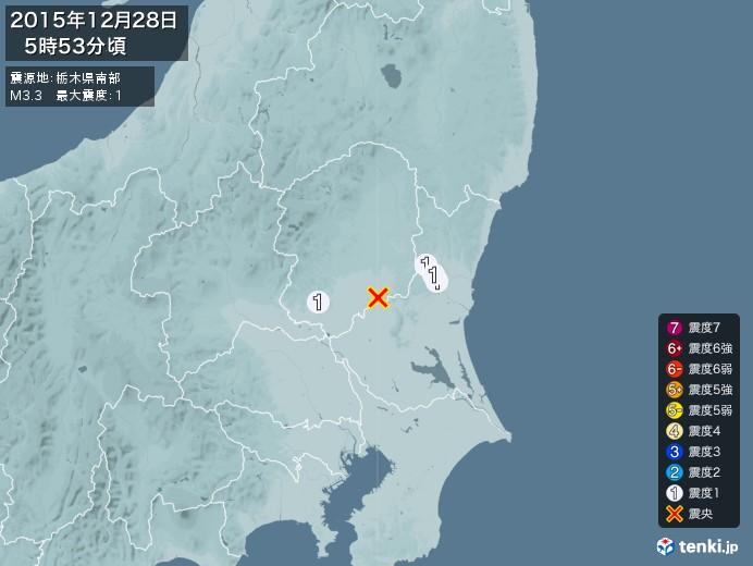 地震情報(2015年12月28日05時53分発生)