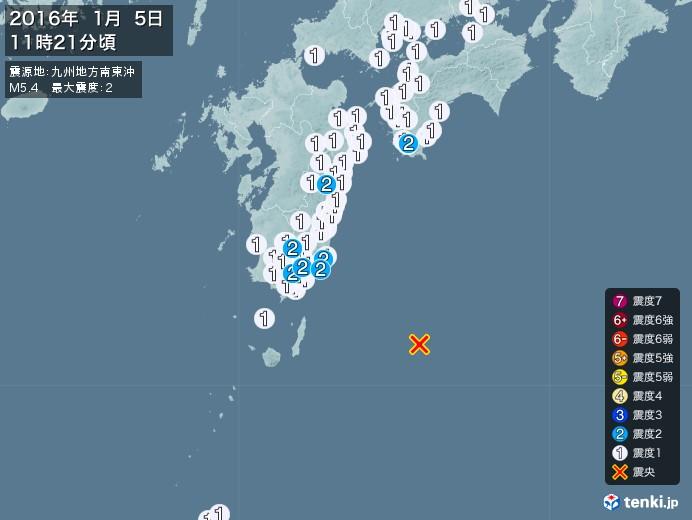 地震情報(2016年01月05日11時21分発生)