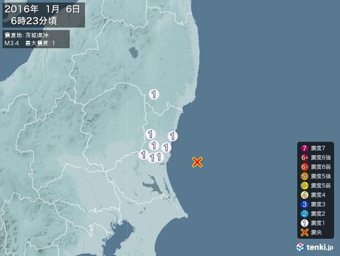 地震情報(2016年01月06日06時23分発生)