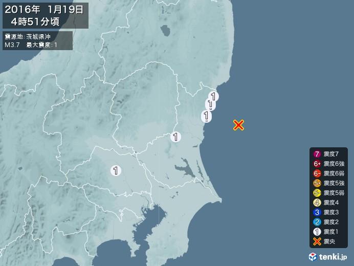 地震情報(2016年01月19日04時51分発生)
