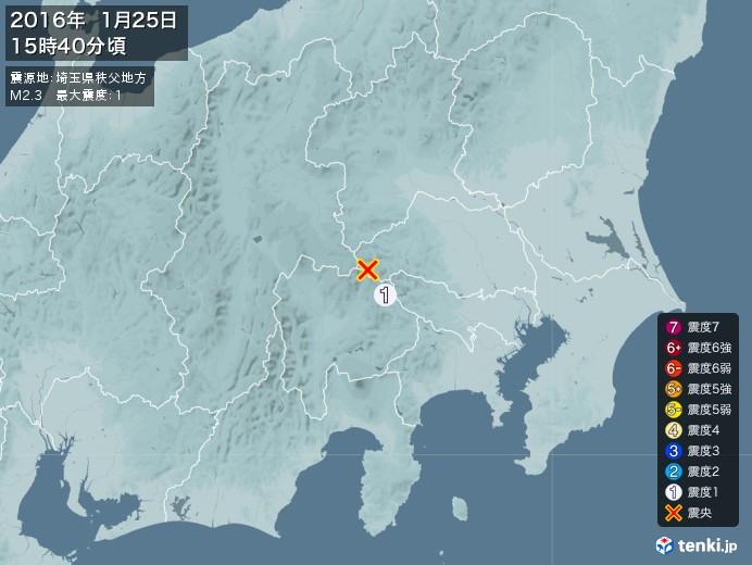 地震情報(2016年01月25日15時40分発生)