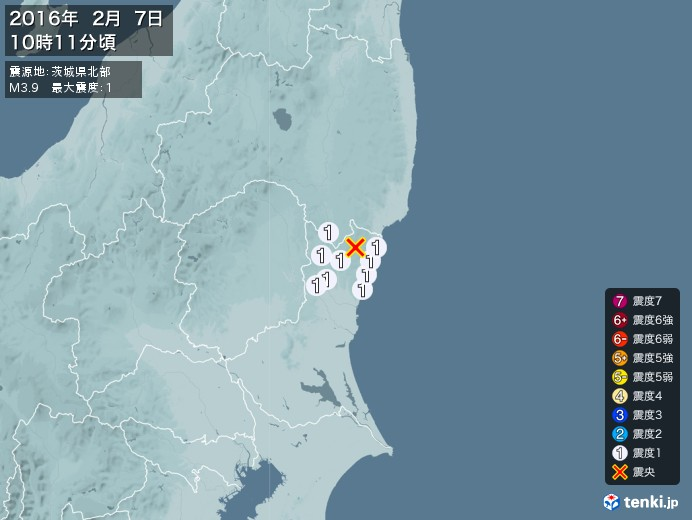 地震情報(2016年02月07日10時11分発生)