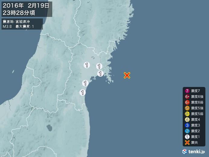地震情報(2016年02月19日23時28分発生)
