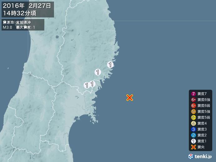 地震情報(2016年02月27日14時32分発生)