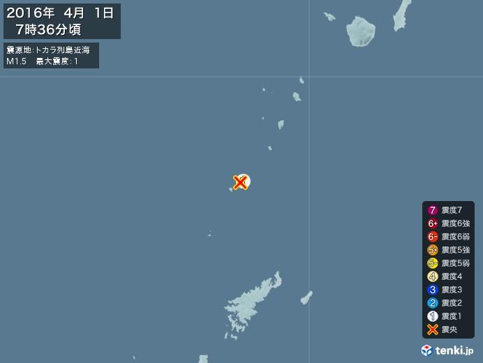 地震情報(2016年04月01日07時36分発生)