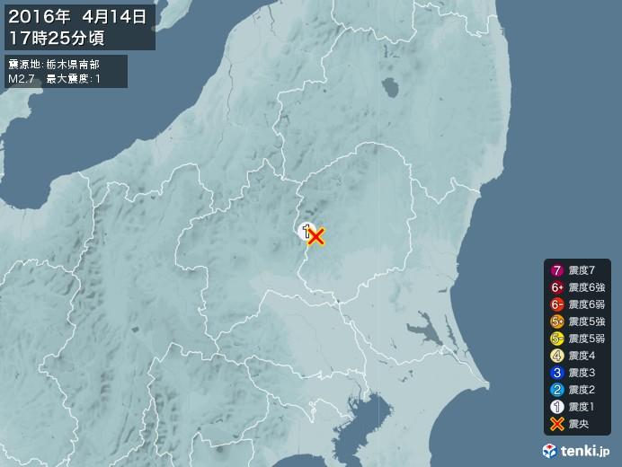 地震情報(2016年04月14日17時25分発生)