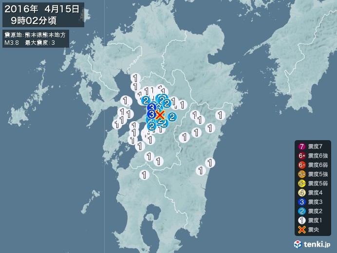 地震情報(2016年04月15日09時02分発生)