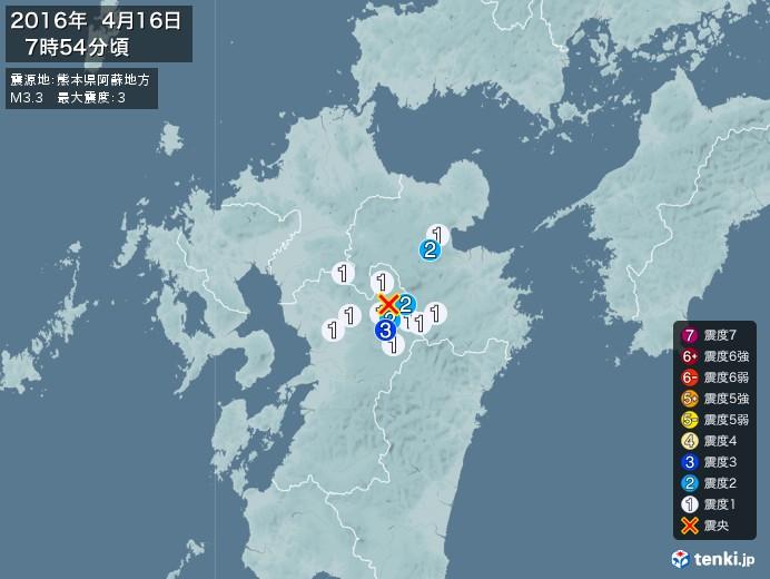 地震情報(2016年04月16日07時54分発生)