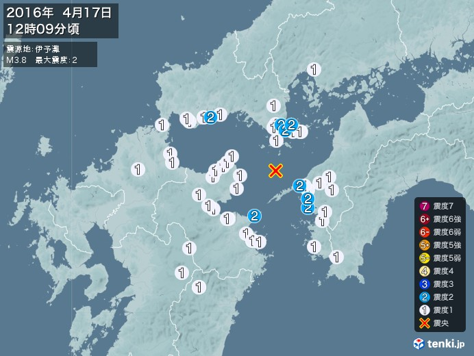地震情報(2016年04月17日12時09分発生)