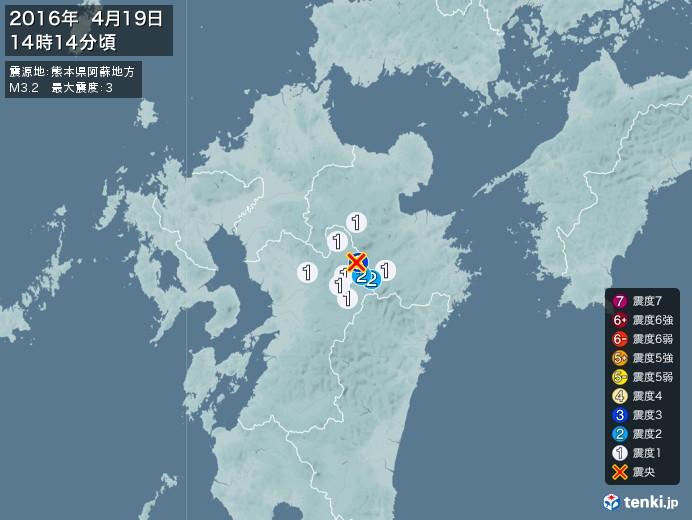 地震情報(2016年04月19日14時14分発生)