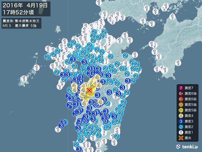 地震情報(2016年04月19日17時52分発生)