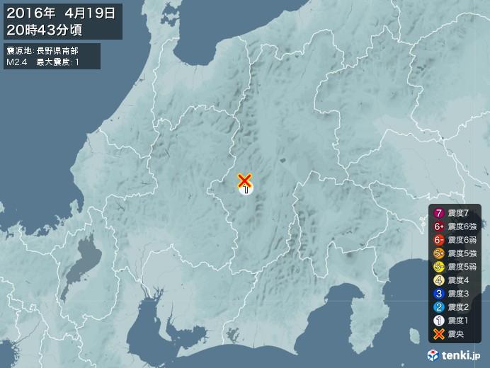 地震情報(2016年04月19日20時43分発生)