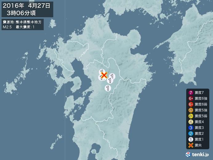 地震情報(2016年04月27日03時06分発生)