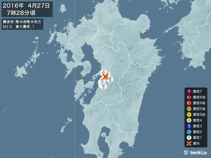地震情報(2016年04月27日07時28分発生)