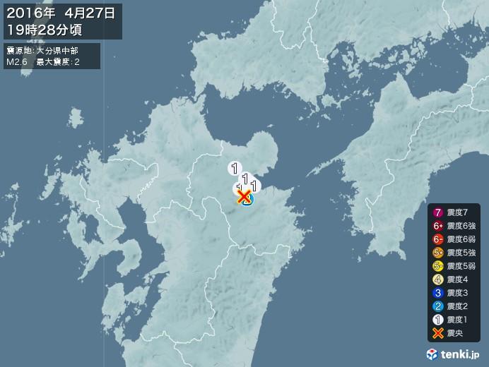 地震情報(2016年04月27日19時28分発生)