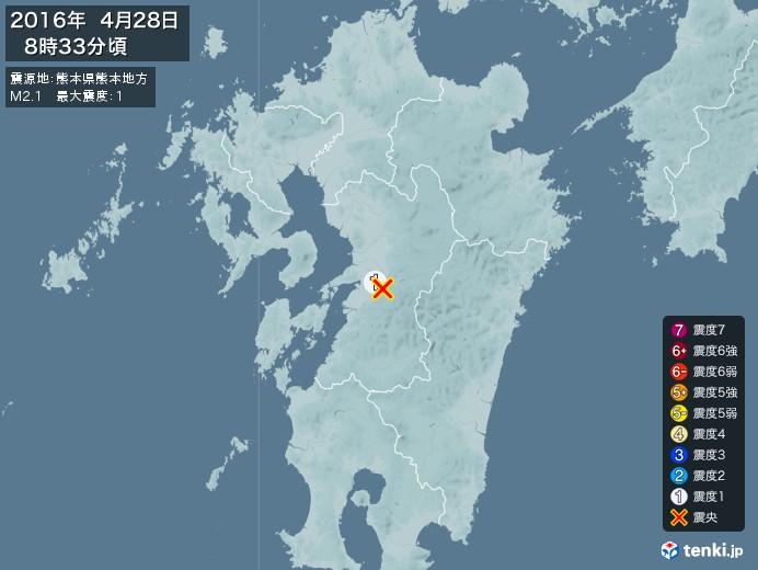 地震情報(2016年04月28日08時33分発生)